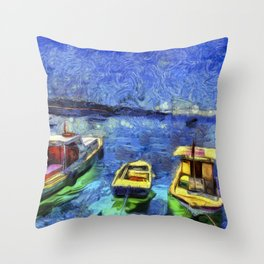 Boats and Sea Impressionist Art Throw Pillow