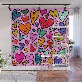 Smiling Heart Print Wall Mural