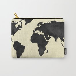 World Continents Map Black on Linen Carry-All Pouch