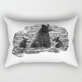 A Dip in the Lake - Mama Bear and Cubs Swim in Lake Tahoe Rectangular Pillow