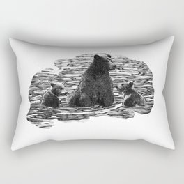 A Dip in the Lake - Mama Bear and Cubs Swim in Lake Tahoe Rectangular Pillow