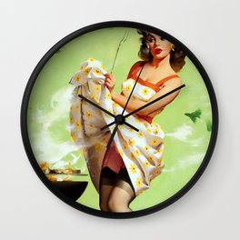 Smoke Screen Vintage Pin-up Girl Wall Clock
