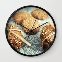 cookies Wall Clocks featuring Cookies by Leonor Saavedra