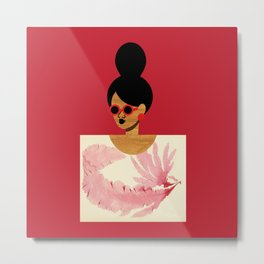 High Bun Postcard Girl Metal Print