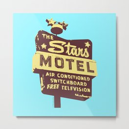 Seeing Stars ... Motel ... (Blue Background) Metal Print