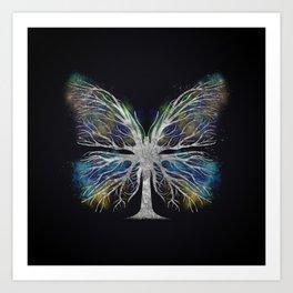 Butterfly Tree - Silver Color Mist Art Print