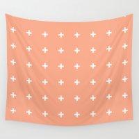 peach Wall Tapestries featuring Peach Cross // Peach Plus by Pencil Me In ™
