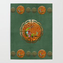Peacock Celtic Deco Poster