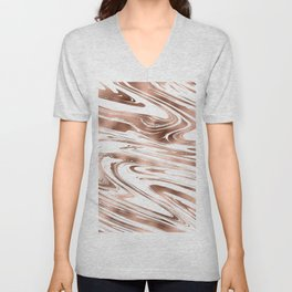 Elegant white rose gold modern trendy marble Unisex V-Neck