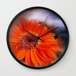 Gerbera and sky -mirrored- Wall Clock