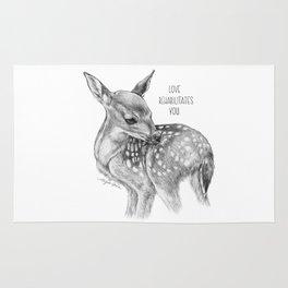 Deer Illustration By Magda Opoka   Animal   Black and White   bw   black-and-white   Animals Rug