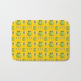 Frogs & Dragonfly Pattern Bath Mat