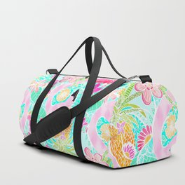 Tropical summer watercolor flamingo floral pineapple Duffle Bag