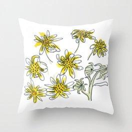 Manx Flora #3 - Scruffy Yellow Throw Pillow