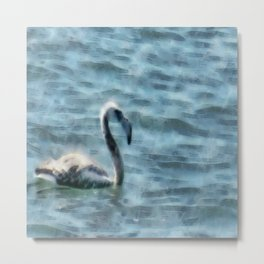 Fledgling Flamingo At Sea Watercolor Metal Print