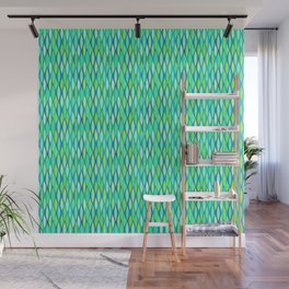 Mid-Century Ribbon Print, Turquoise and Lime Green Wall Mural