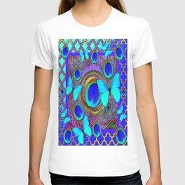 Abstract Blue Butterflies  Peacock Feather Eyes Pattern Art T-shirt