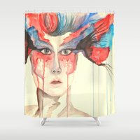 warrior Shower Curtains featuring Warrior by Maria D. Montano