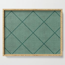 Stitched Diamond Geo Grid in Green Serving Tray