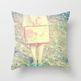 Travel Vintage Girl  Throw Pillow