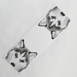 1ba9b17c Siberian Husky dog with two eye color Dog illustration original painting  print Yoga Mat