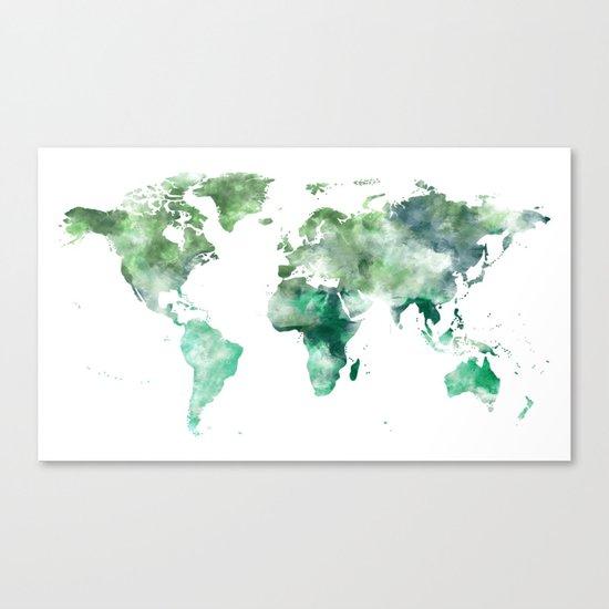 World Map Emerald Green Earth Canvas Print