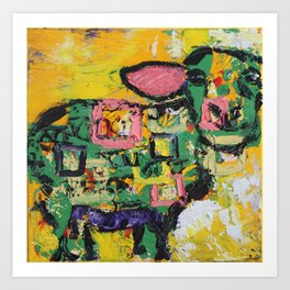 Squares and Sheep Art Print