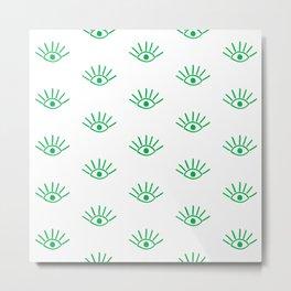 Green Evil Eye Pattern Metal Print