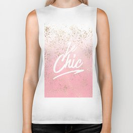 Le Chic French Quote Speckled Gold Flakes Biker Tank