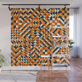 Orange Navy Color Overlay Irregular Geometric Blocks Square Quilt Pattern Wall Mural