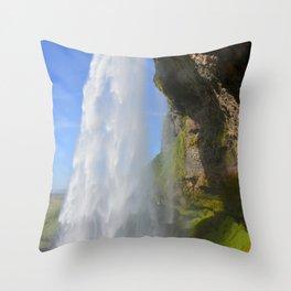 Iceland Waterfall Cascade Landscape Throw Pillow