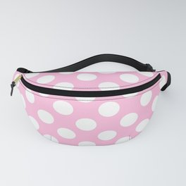 White polkadots dots polkadot circles on pink Fanny Pack