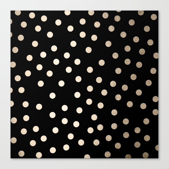 Simply Dots White Gold Sands on Midnight Black Canvas Print