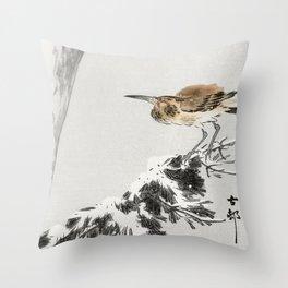Bird Sitting on Snowy Tree Branch - Vintage Japanese Woodblock Print Throw Pillow
