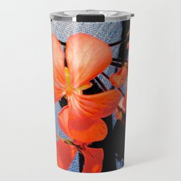 Geranium flowers on blue jean Travel Mug
