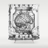 metroid Shower Curtains featuring Mother Brain Super Metroid Engraving Scene by Barrett Biggers