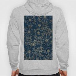 Chic navy blue modern elegant gold floral Hoody