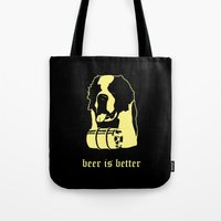 beer Tote Bags featuring Beer by Andrea Bettin ART