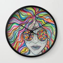 The girl with kaleidoscope eyes Wall Clock