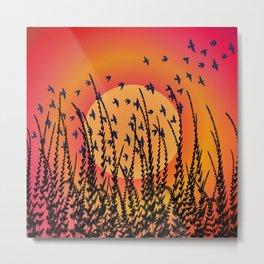 Sky, Sun & Birds (orange) Metal Print