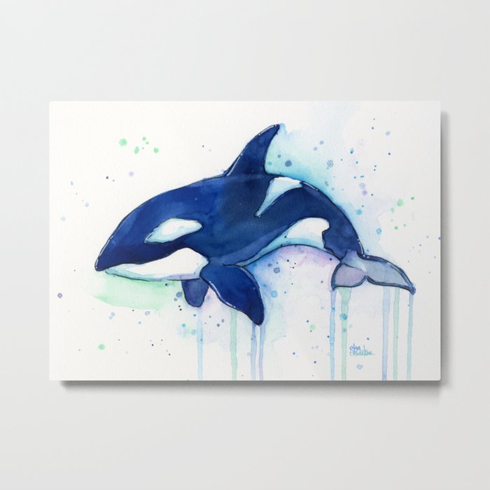 Killer Whale Orca Watercolor Painting Animal Art Metal Print