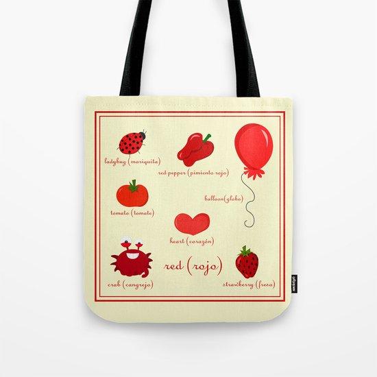 Colors: red (los colores: rojo) Tote Bag