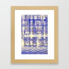 needlepoint sampler in blues Framed Art Print