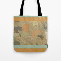 fifth element Tote Bags featuring The Fifth Element by Itxaso Beistegui Illustrations