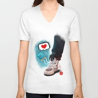 sneaker V-neck T-shirts featuring sneaker Love by Dominik Gottherr