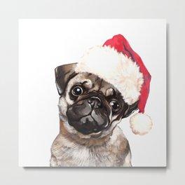 Christmas Pug Metal Print