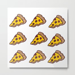 Pizza Pattern with Transparent Background Metal Print