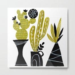 GREEN AND BLACK CACTUS Metal Print