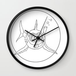 shark with snorkle Wall Clock