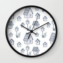 Bird House Drawings, Pattern Wall Clock